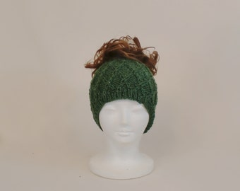 Green Ponytail Hat, Knit Messy Bun Headband Beanie, Honeycomb Runner's Ear Muffs Hat with a Hole