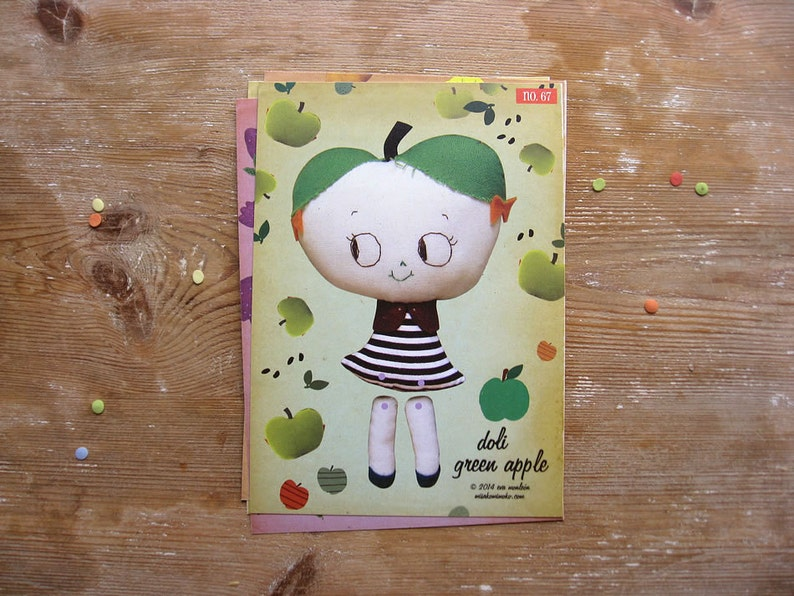 On SALE Green Apple Cutout Paper Doll. Articulated paper image 0