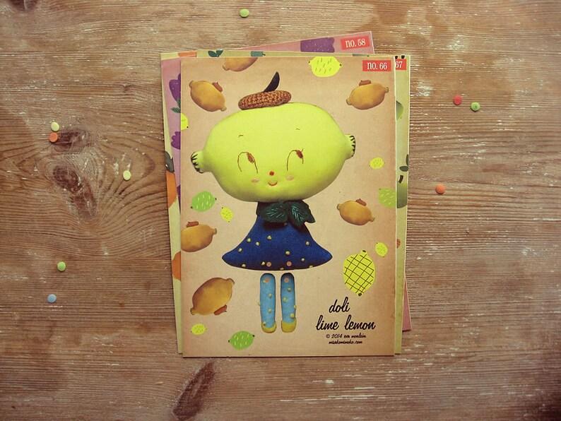 On SALE Lime Lemon paper doll. DIY cut out paper puppet. image 0