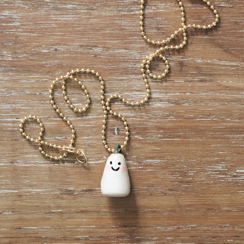 Ceramic Ghost Necklace. One-of-a-kind Handmade Porcelain image 0