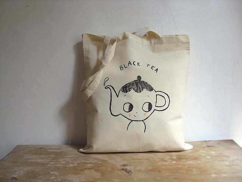 Tote bag cotton   MADE TO ORDER. Teapot. Black Tea image 0