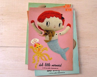 On SALE! Mermaid paper doll. DIY cut out paper puppet featuring doli little mermaid. Moveable paper doll. Holiday DIY Craft Paper Cutout.