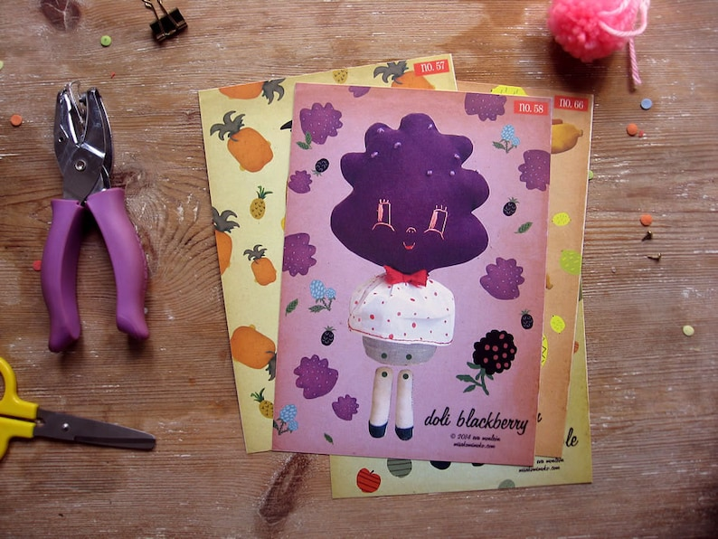 On SALE Blackberry Paper Doll. Articulated paper doll. DIY image 0