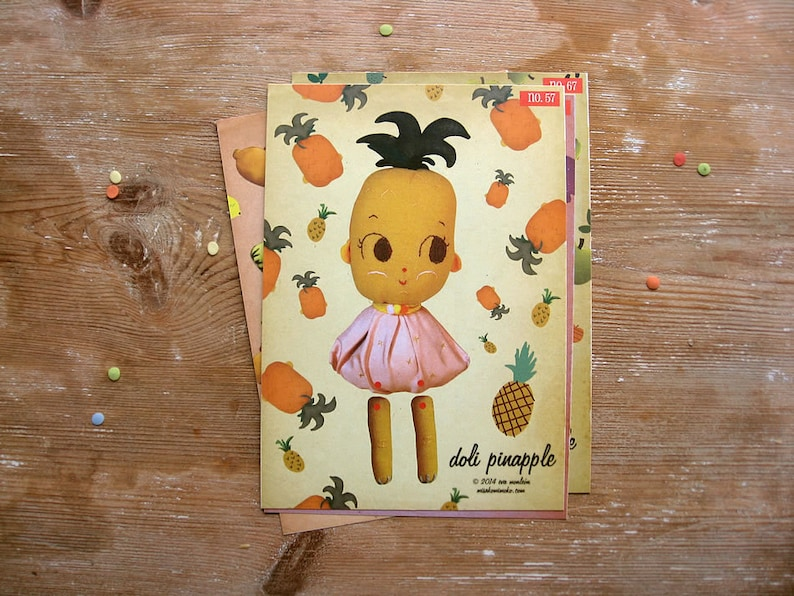 On SALE Pineapple Paper Doll. DIY Paper Puppet. Cut out paper image 0
