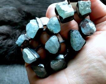 Big aquamarine ring | Raw aquamarine ring | March birthstone ring | Boho ring | Aquamarine crystal ring | Rough aquamarine