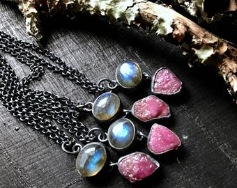 Raw ruby necklace | labradorite necklace | ruby crystal pendant | labradorite pendant | Raw crystal pendant