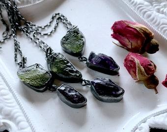Raw Moldavite necklace | Amethyst crystal necklace