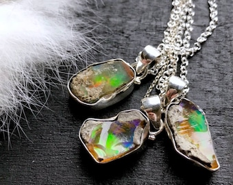 Opal necklace | natural opal pendant | rough opal necklace| Opal in silver necklace | rough Opal stone jewelry | Natural opal necklace