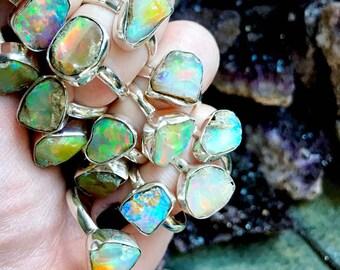 rough opal ring | Chunky opal ring | Raw  opal ring | Opal birthstone ring | Fire opal ring