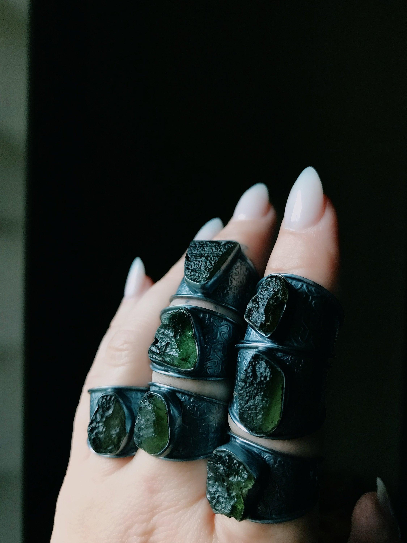 Moldavite ring, Rough moldavite ring, Raw moldavite ring, Tektite