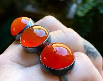 Carnelian ring, full moon ring, orange gemstone ring