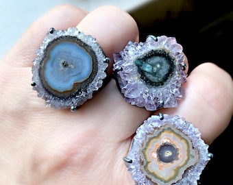 Amethyst stalactite ring, Raw amethyst ring, stalactite ring