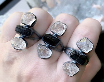 Black tourmaline ring, Herkimer Diamond  ring, raw crystal ring