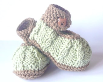 Knitting PATTERN BABY Booties - Mini Minty Baby Shoes Instant DOWNLOAD