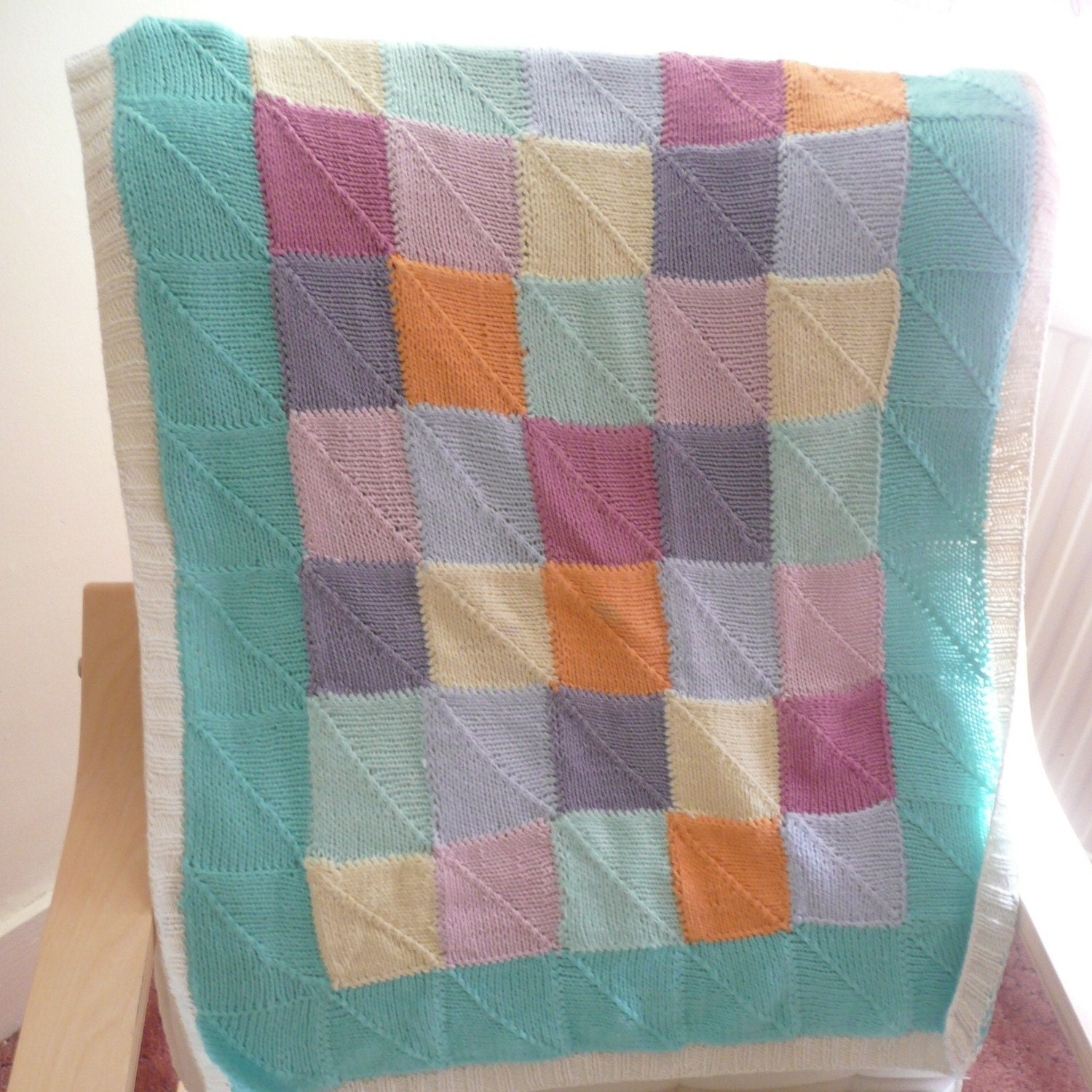 INSTANT DOWNLOAD Knitting PATTERN Pretty Patchwork Baby Blanket from ...