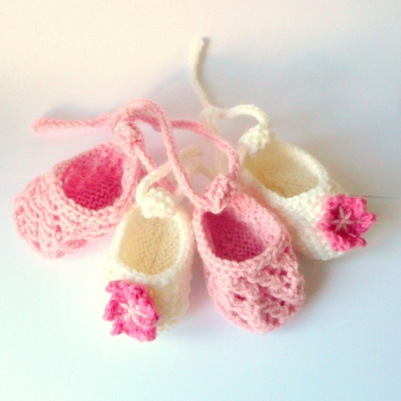 Booties Knitting Pattern Baby Ballerina Shoes Newborn Etsy