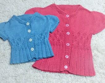 Knitting Pattern Summer Cardigan Sweater -  Caron (6 Sizes, 0 - 7 yrs)