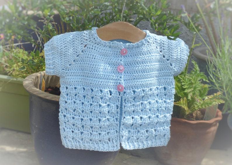 3859f951d517 Crochet Pattern Cardigan Seamless Top Down Baby Girl