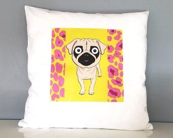 Pug Cushion, printed, dog, Animal Print, Neon