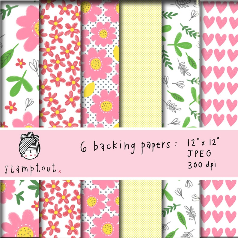 12 x 12 backing papers/ collage sheets  'bright & image 0