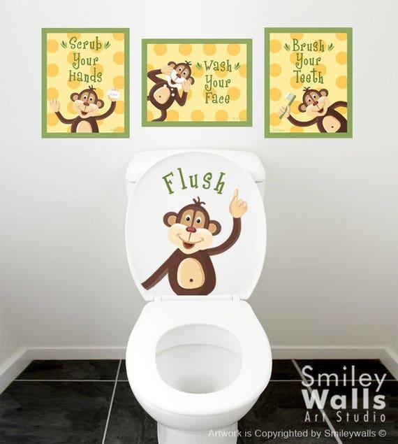 Kids Bathroom Wall Art, Bathroom Prints Stickers, Monkeys Wall Art, Monkeys  Wall Decal For Kids Bathroom Decor, Kids Bathroom Door Sign Art