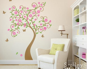 Curly Flower Tree with Butterflies Wall Decal, Cherry Blossom Tree Decal, Wall Sticker Tree, Flowers Tree Sticker, Kids Room Decor