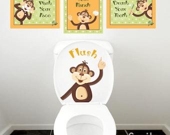 Kids Bathroom Wall Art, Monkeys Wall Decal for Kids Bathroom Decor, Monkeys Wall Art, Bathroom Prints Stickers, Door Sign Kids Bathroom