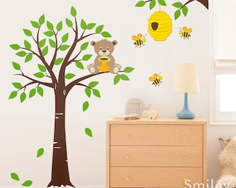 Honey Bear and Bees Wall Decal Tree Wall Decal Nursery Kids Wall Decal Bear Wall Decal Bees Wall Decal Bee Hive Bees Wall Decor