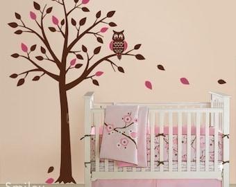 Owl Tree Wall Decal, Tree and Cute Owl Wall Decal for Nursery, Owl Wall Decor, Owl Tree Sticker, Owl and Tree Wall Decal, Kids Room Decal