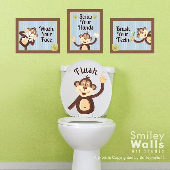 Superieur Kids Bathroom Wall Art, Monkeys Wall Decal For Kids Bathroom Decor, Monkeys  Wall Art, Bathroom Prints Stickers, Door Sign Kids Bathroom