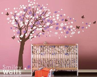Cherry Blossom Tree Wall Decal Cherry Blossom Wall Decal Flower Tree Wall Decal Butterflies in the Wind Wall Decal Nursery Kids Vinyl Art