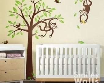 Monkeys Tree Wall Decal Children Nursery Vinyl Wall Decal, Jungle Decal, Branch and Monkey Wall Decal, Baby Room decor, Kids room sticker