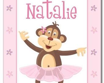 Monkey Wall Art, Ballerina Monkey Wall Art, Monkey Nursery Print, Personalized Wall Art, Nursery Room Decor, Wall Sticker, Kids Name Print