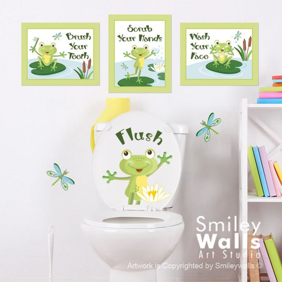 Kids Bathroom Wall Art Bathroom Prints Stickers Frogs Wall | Etsy