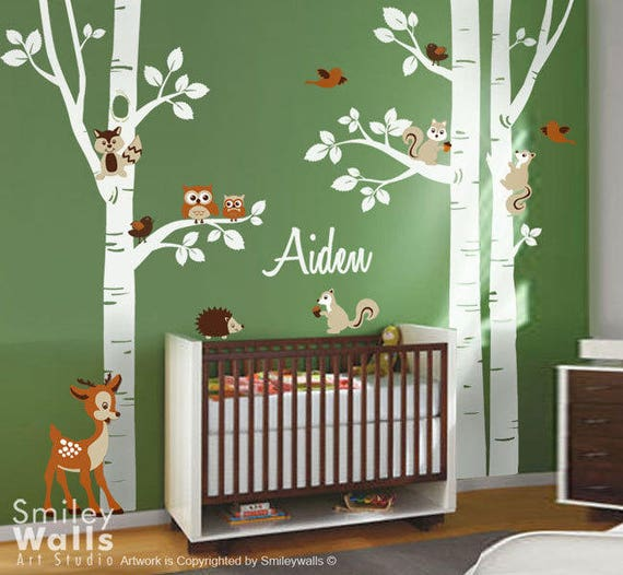 forest trees wall decal forest animals wall decal birch | etsy