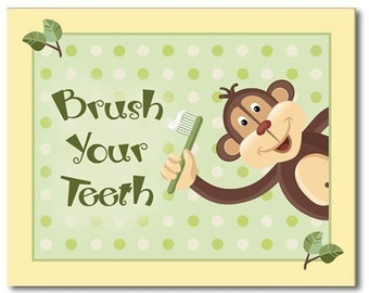 Set of 3 Bathroom Prints Jungle Monkey Wash Your Hands