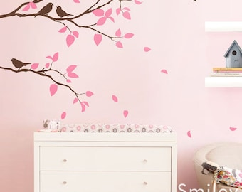 Branches Wall Decal, Two Spring Branches and Birds Kids Nursery Vinyl Wall Decal Sticker Room Decor Branch Sticker for Kids Room Decor