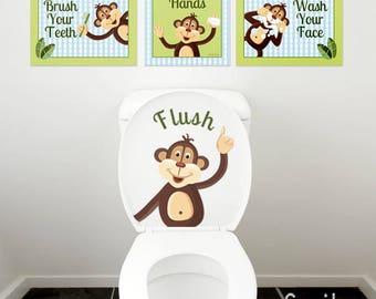 Kids Bathroom Wall Art, Monkeys Wall Art, Bathroom Prints Stickers, Monkeys Wall Decal for Kids Bathroom Decor, Kids Bathroom Door Sign
