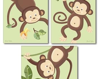 Monkey Prints for Nursery, Monkeys Wall Art Nursery Wall Decor Art Prints Monkey Wall Art for Baby Room Decor, Jungle Animals Wall Art