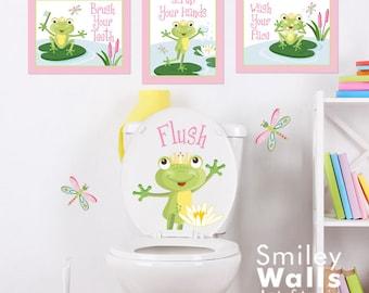 Kids Bathroom Wall Art, Girls Bathroom Prints Stickers, Frogs Wall Art, Wall Decal for Kids Bathroom Decor, Kids Bathroom Door Sign Decor
