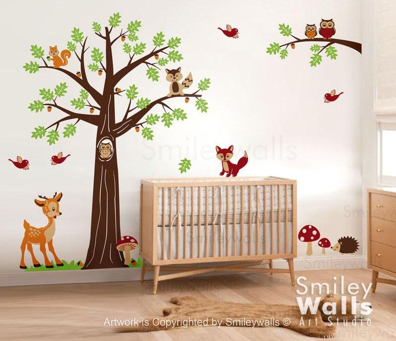 Kinderzimmer Wandtattoo Wald Wald Tiere Wandtattoo Baum Wandtattoo Bambi Reh Eulen Eichhörnchen Waschbär Baby Kinderzimmer Art Decor