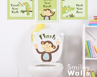 Kids Bathroom Wall Art, Monkey Bathroom Prints Stickers, Jungle Wall Art, Wall Decal for Kids Bathroom Decor, Kids Bathroom Door Sign Decor