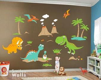 Dinosaurs Wall Decal, HUGE Set, Dinos Wall Decal, Boys Nursery Wall Decal, Baby Nursery Kids Playroom Vinyl Wall Decal Sticker Decor