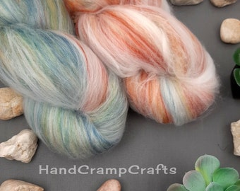 Luxury art batts for spinning or felting 5.4 oz set of 2 batts hand dyed in color daydreaming