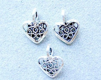 Charm,HEART,Sterling, Silver, Charm, Filigree, 2 Sided, Bali