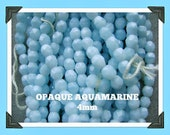BEADS CZECH 4mm FACETED Opaque Aquamarine Round 50 beads Fire Polished 21
