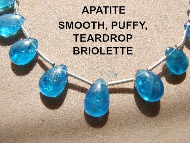 Lightweight Baby Blue APATITE 19 Pieces TOP Drilled BEADS