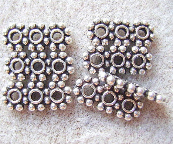 50pcs Antique Silver 3 Rows Spacer Bar Loose Crystal Beads For Bracelet