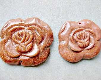 Pendant, Flower,  GOLDSTONE,  Large, Carved, Aventurine, Copper