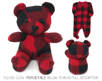 Keepsake Memory Bear custom made from baby clothes, coming home outfit, hospital blanket, baby blanket memory bear personalized